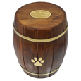 Oval plaque option shown on Paw Print Wood Barrel Pet Urn