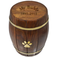 Engraved Paw Print Wood Barrel Pet Urn