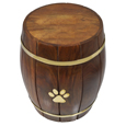 Paw Print Wood Barrel Pet Urn