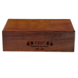 Engravable Dog Wood Pet Urn shown with front engraving