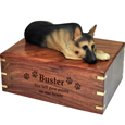 Wood engraving shown on front of German Shepherd Dog Figurine Wooden Urn