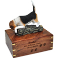 Wood engraving shown on front of Beagle figurine wood urn