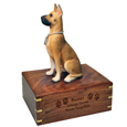 Wood engraving shown on front of Great Dane figurine wood urn