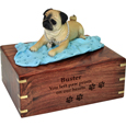 Wood engraving shown on front of Pug Dog Figurine Wooden Urn