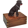 Urn shown with chocolate lab dog figure only; no plaque or engraving