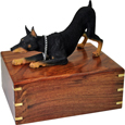 Urn shown with Doberman Pinscher dog figure only; no plaque or engraving