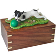 Urn shown with b&w Jack Russell dog figure only; no plaque or engraving