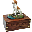 Wood engraving shown on front of Pointer Dog Figurine Wooden Urn