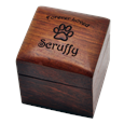 Wooden Pet Keepsake Urn with engraved name and clip art