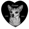 Pet Photo Laser Engraved Black Marble Heart- Extra Large
