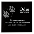 sample of granite pet grave marker in square format