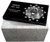 China White Granite Pet Urn with Photo Laser Engraved Top- Large Dog