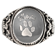 Silver round ring pet urn jewelry shown engraved with name and paw print