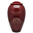 Red Premium Brass Pet Cremation Urn shown engraved with text and rainbow