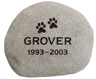 Pet Memorial Garden Keepsake Stones - Natural River Rock - Medium