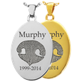 Oval Noseprint Pet Memorial Jewelry shown in silver and gold precious metal