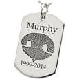 nose print engraved on to flat dog tag charm