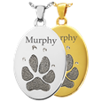 Oval Paw Print Pet Memorial Jewelry in silver and gold precious metals