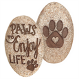 Front and back of  Paws to Enjoy Pet Comfort Stone