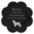 flower shaped slate tile with custom text and dog clip art