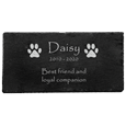 slate tile pet memorial with custom text and paw clip art