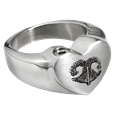 Stainless Steel Heart Ring with actual Noseprint chamber style
