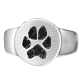 Front view of Pet Memorial Jewelry Paw print Stainless Steel Round Ring
