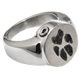 Chamber opening shown of Pawprint Stainless Steel Round Ring pet jewelry