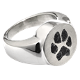 Pet Memorial Jewelry Stainless Steel Round Ring with Pawprint chamber style