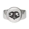 Front shown of Pet Memorial Jewelry Noseprint Stainless Steel Round Ring