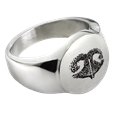 Pet Memorial Jewelry Premium Stainless Steel Round Ring with actual Noseprint