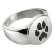 Stainless Steel Round Ring with actual Pawprint Pet Memorial Jewelry