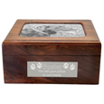 Metal photo plaque and engraved plaque shown on Memory Chest Wooden Box urn