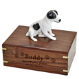 Wood engraving shown on front of black & white Jack Russell Terrier urn
