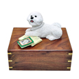 Additional front view of Bichon Frise with Books Figurine Wooden Urn