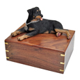 Urn shown with Rottweiler dog figure only; no plaque or engraving