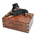 Wood engraving shown on front of Rottweiler Dog Figurine Wooden Urn