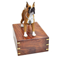 Front view of Boxer dog figurine