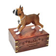 Wood engraving shown on front of tawny white Boxer Dog Figurine Wooden Urn