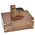 Urn shown with Yorkshire Terrier dog figure only; no plaque or engraving