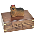 Wood engraving shown on front of Yorkshire Terrier Figurine Wood Urn