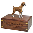 Wood engraving shown on front of Boxer Figurine Wood UrnWood engraving shown on front of Boxer Brindle Figurine Wood Urn