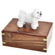 Urn shown with Bichon Frise dog figure only; no plaque or engraving