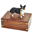 Urn shown with Welsh Corgi Cardigan dog figure only; no plaque or engraving