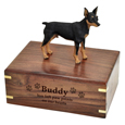 Wood engraving shown on front of Miniature Pinscher Figurine Wood Urn