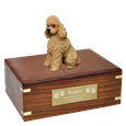 Poodle Apricot Sport Cut Dog Urn with engraved plaque