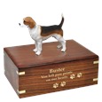 Beagle Figurine Wood Urn engraved with gold fill