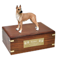 Great Dane Fawn Wood Urn with engraved plaque
