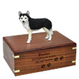 Black & White Husky with Brown Eyes Figurine Wood Urn with engraved front