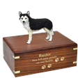 Black & White Husky with Brown Eyes pet urn with gold fill engraved front